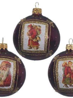Kerstballen rood kerstman