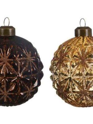 Kerstballen bruin/goud