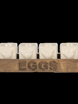 Eierdopjes op houten schaal 36,95 €